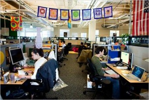 A photo in the NYTimes of our flags hanging in the google headquarters.
